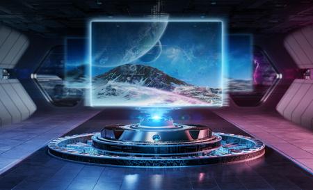 Maquette de panneau d'affichage moderne dans le rendu 3d du vaisseau spatial intérieur futuriste