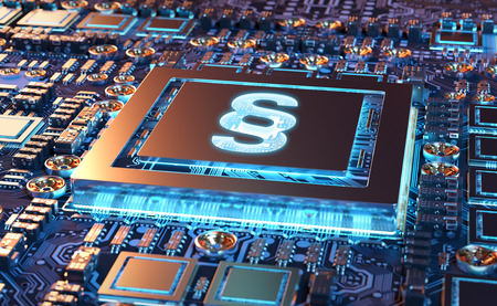 Cyber law paragraph symbol concept on a colorful GPU 3D rendering
