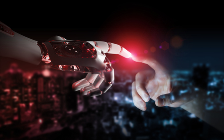Red robot hand making contact with human hand on dark background 3D rendering Stock fotó