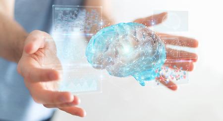 Zakenman op onscherpe achtergrond met behulp van digitale 3D-projectie van een 3D-rendering van het menselijk brein