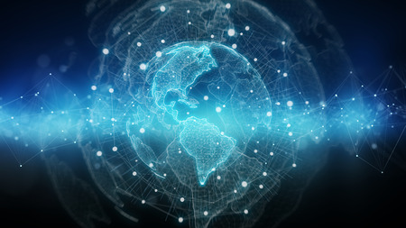 Global network on planet Earth blue background 3D rendering 写真素材