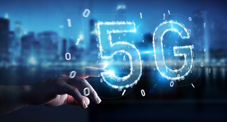 Businessman on blurred background using 5G network digital hologram 3D rendering 写真素材