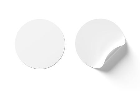Leeres gewelltes Aufklebermodell isoliert auf weißem Hintergrund 3D-Rendering