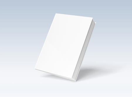 Maquette de livre à couverture rigide vierge flottant sur fond blanc rendu 3D
