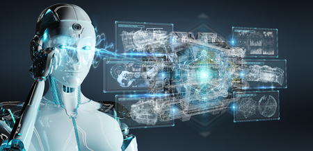 Cyborg on blurred background using wireframe holographic 3D digital projection of an engine