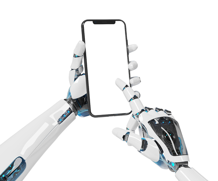 White robot hand holding modern smartphone mockup on white background 3d rendering Stock Photo
