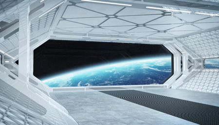 White blue spaceship futuristic interior with window view on planet Earth 3d rendering elements of this image furnished by NASA Stock Photo