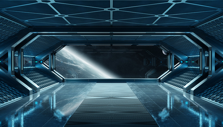 Dark blue spaceship futuristic interior with window view on planet Earth 3d rendering Stock Photo