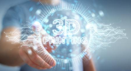 Businessman on blurred background using 3D printing digital hologram 3D rendering 免版税图像