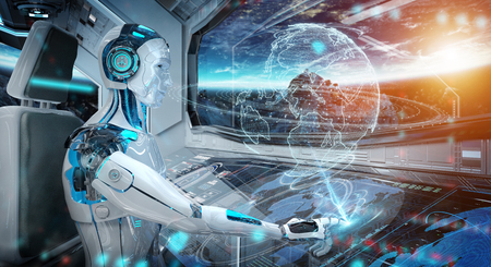 Robot cyborg in a control room flying a white modern spaceship with window view on space and digital Earth hologram 3D rendering Banco de Imagens