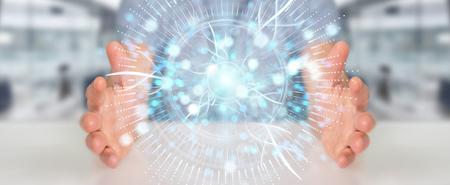 Businessman on blurred background using digital eye surveillance hologram 3D rendering Banque d'images