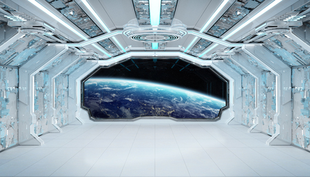 White blue spaceship futuristic interior with window view on planet Earth 3d rendering Stockfoto - 118832659