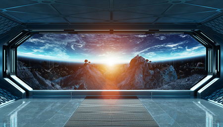 Dark blue spaceship futuristic interior with window view on space and planets 3d rendering Stock Photo