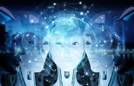 Group of female robots heads watching world map holographic interface 3d rendering