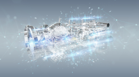 Wireframe holographic 3D digital projection of an engine on grey  background Stok Fotoğraf