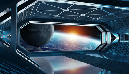 Dark blue spaceship futuristic interior with window view on planet Earth 3d rendering Stock Photo - 118832873
