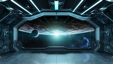 Dark blue spaceship futuristic interior with window view on planet Earth 3d rendering elements Stockfoto