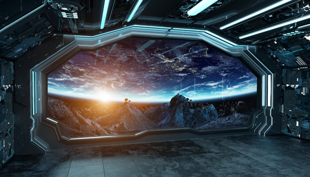 Dark blue spaceship futuristic interior with window view on space and planets 3d rendering elements Фото со стока