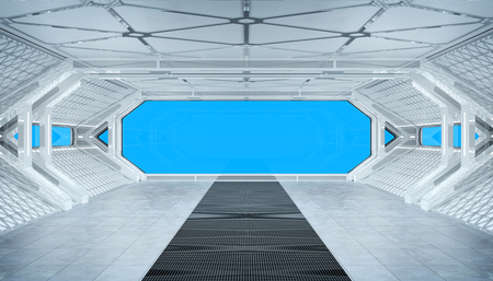White blue spaceship futuristic interior mockup with window view isolated 3d rendering