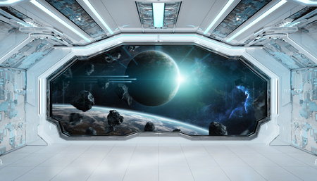 White blue spaceship futuristic interior with window view on space and planets 3d rendering elements