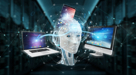 White humanoid controlling modern devices on blue server background 3D rendering Stock Photo