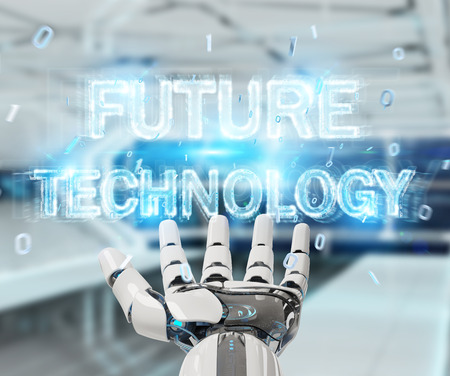 White robot hand on blurred background using future technology text hologram 3D rendering Stock Photo