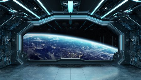Dark blue spaceship futuristic interior with window view on planet Earth 3d rendering elements Stock Photo