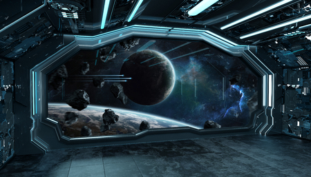 Dark blue spaceship futuristic interior with window view on space and planets 3d rendering elements Stock Photo