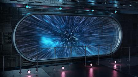 Black tech spaceship round window interior jumping to light speed 3D rendering elements