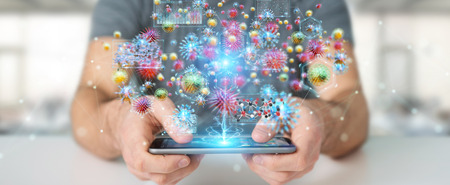 Businessman analyzing bacteria microscopic close-up with mobile phone 3D rendering