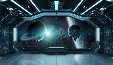 Interior futurista de nave espacial azul oscuro con vista de ventana en el espacio y los planetas.Elementos de representación 3d de esta imagen proporcionada por la NASA.