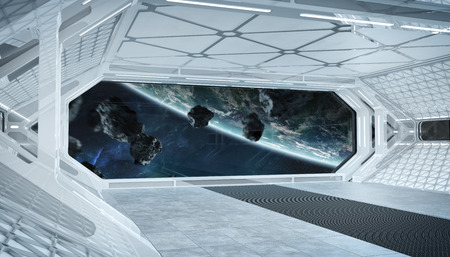 White blue spaceship futuristic interior with window view on planet Earth 3d rendering