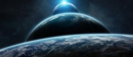 Système de planète éloigné dans l'espace avec des exoplanètes pendant le rendu 3D du lever du soleil Banque d'images