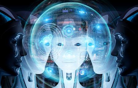 Grupo de cabezas de robots femeninos que utilizan pantallas de hologramas digitales interfaz renderizado 3d