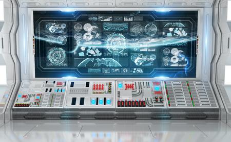 Interno bianco dell'astronave nello spazio con il rendering 3D di schermi digitali del pannello di controllo