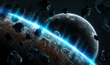 Sistema de planeta distante en el espacio con exoplanetas durante la representación 3D del amanecer