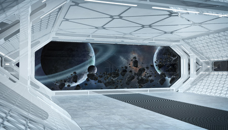 White blue spaceship futuristic interior with window view on space and planets 3d