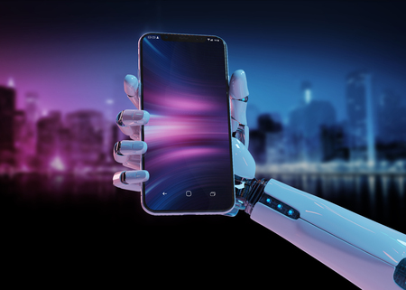 White robot hand holding modern smartphone mockup on pink blue background 3d rendering