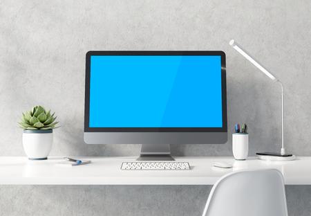 Moderna computadora negra y plateada en escritorio blanco y maqueta interior de hormigón renderizado 3D