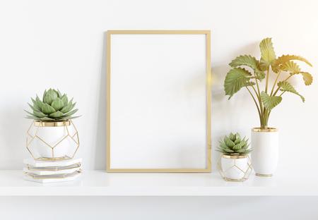 Cadre doré s'appuyant sur une étagère blanche dans un intérieur lumineux avec rendu 3D de maquette de plantes et de décorations