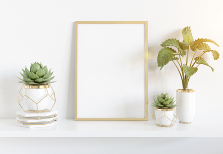 Golden frame leaning on white shelve in bright interior with plants and decorations mockup 3D rendering Standard-Bild - 120745655