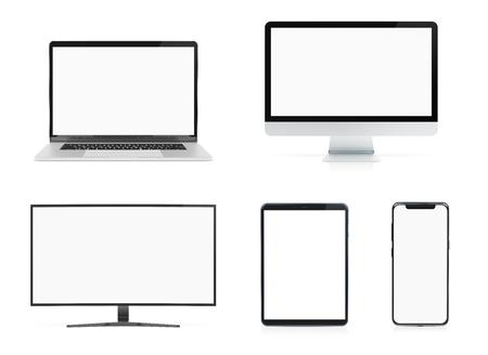 Dispositivi moderni con computer portatile smartphone e tablet isolati su sfondo bianco mockup rendering 3D