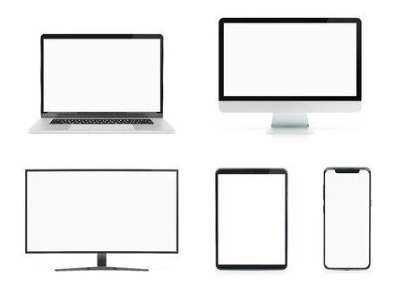 Modern devices with smartphone laptop computer and tablet isolated on white background mockup 3D rendering