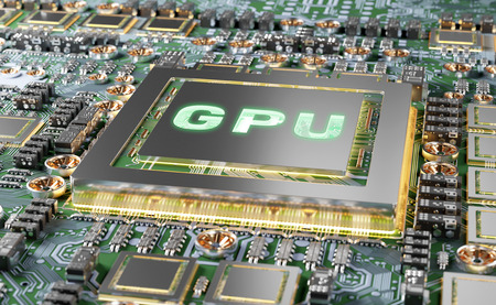Close-up view of a modern GPU card with circuit and colorful lights and details 3D rendering 写真素材
