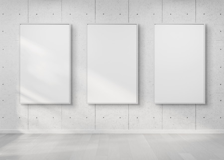Three white frames hanging on a white wall mockup 3d rendering Фото со стока