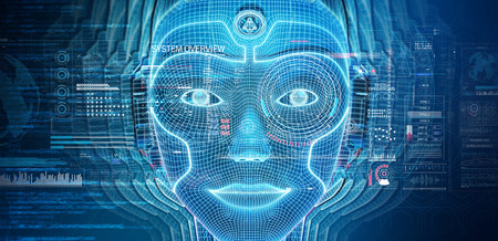 Robotic woman cyborg face representing artificial intelligence concept 3D rendering Imagens