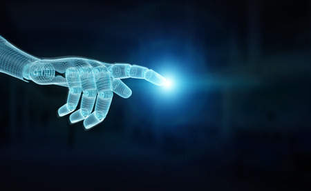 Wireframed blue robot hand pointing finger on dark background 3D rendering