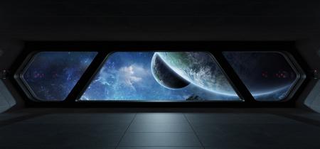 Futuristisches Interieur des Raumschiffs mit Blick auf den Exoplaneten 3D-Rendering
