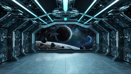 Dark blue spaceship futuristic interior with window view on space and planets 3d Stock Photo