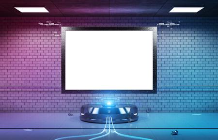Futurystyczny billboard poziomy w brudnej, podziemnej stacji metra, makieta renderowania 3d Zdjęcie Seryjne